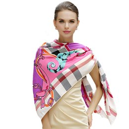 Wholesale Pink Ponchos - 100% Silk Scarves Women Metal Chain Skull Scarf Key and Bone Print Silk Square Scarf Femal Fashion Wraps Bandanas Pashmina Shawls