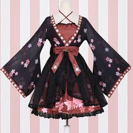 duende mágico Desconto Peixe Flor estilo chinês Vintage Qi Vestido Lolita doce Impresso vestido de chiffon