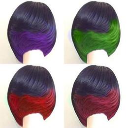 """Perucas verdes curtas on-line-Nova cor sexy mix (preto verde / vermelho / roxo / rosa vermelha) 10 """"perucas de cabelo curto cacheados perucas sintéticas resistente ao calor com o cabelo do bebê"""