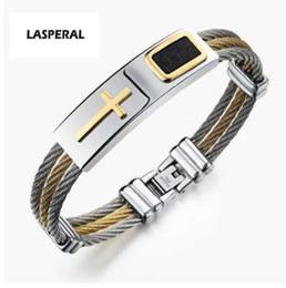 Wholesale african traditional beads jewelry - LASPERAL Stainless Steel Male Bracelet 3Rows Wire Chain Bracelets Bangles Punk Rock Style Cross Bracelet Christian Men Jewelry