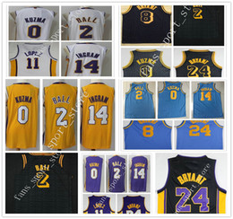 Wholesale Ball Jerseys - 2018 New Black City Edition #2 Lonzo Ball Jersey White Purple Yellow #0 Kyle Kuzma Blue MPLS. #14 Brandon Ingram Brook Lopez Jersey