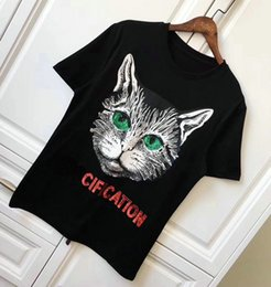 Wholesale Eye Print Fashion - 2018 new summer Luxury brand men T-shirt sequin cat green eyes short sleeves cotton male t shirt Mens Designer Tee Tops fashion Clothing