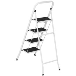Wholesale Fold Step - Portable Folding 4 Step Ladder Steel Stool 300lb Heavy Duty Lightweight