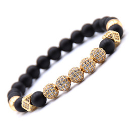 drill ball Promo Codes - Luxury Cubic Zirconia Birthday Stone Boyfriend Elasticity Bracelets For Men Women Matte Beads Bilezikler Drill Ball Hiphop Gifts