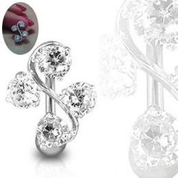edelsteinknöpfe Rabatt Klare elegante 4 Edelsteine Reverse Bauchnabel Ring Barbell 14 Gauge