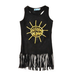 Wholesale Beach Dreams - Baby Girls Vest Tassel Dress California-dreaming Letters Gold Printed Midcalf Straight Skirt Infant Toddler Summer Clothing Outfits Boutique