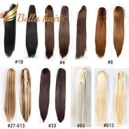 Pferdeschwanz synthetisch online-Bella Hair® Remy Synthetic Handmade Clip in Claw Ponytail Hair Extensions Straight 20inch Color #1B#4#6#8#10#16#27#30#33#60#613#99J#27 613
