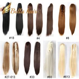 Extensiones de cabello color 33 online-Bella Hair® Remy - Clip hecho a mano sintético en garra Extensiones de cabello de cola de caballo Recta 20 pulgadas Color # 1B # 4 # 6 # 8 # 10 # 27 # 30 # 33 # 60 # 613 # 99J # 27/613