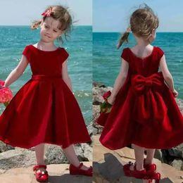 Wholesale Velvet Baby Princess Dress - Lovely Red Velvet Flower Girl Dress Tea Length Baby Girl Pageant Dresses Toddler Kids Party Dress Short Communion Gowns With Big Bow Back