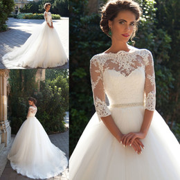 Wholesale t shirt tulle - 2018 Wedding Dresses Country Lace Bateau Neck A-line Half Sleeves Button Back Pearls Belt Appliques Garden Novia Bridal Gowns