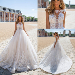 Wholesale Graceful Plus Size Wedding Dress - 2018 Graceful Lace Wedding Dresses High Collar Cap Sleeves A Line Lace Sheer V Neck Backless Beads Sequins Milla Novia Bridal Gowns