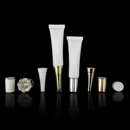 Wholesale Plastic Shipping Containers Wholesale - Free Shipping - 15ML White Empty Cosmetic Packaging Plastic Soft Tube Eye Cream Gel Packaging Tube Containers