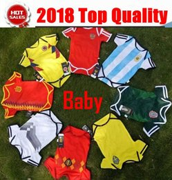 Wholesale Baby Boys Shorts - Baby Jersey For 6 To 18 Month Baby 2018 World Cup Shirt Argebtina Spain Mexico Colombia Belgian #10 MESSI Russia Kid Jersey 2018 Baby Shirts