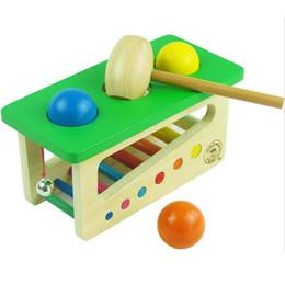Mesas de rompecabezas online-Sonido de madera Golpes Bolas Montessori Juguete Educativo Para Niños Puzzle Oyuncak Bebé Montessori Material Mesa de Ping Pong