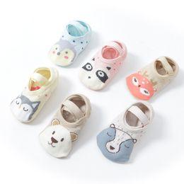 Wholesale high quality girls socks - Infant animal anti-skid cute children high quality carton floor walk socks for 1-3T newborn baby girl boy short breathable cotton socks