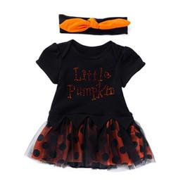 vestiti da partito di cotone per i più piccoli Sconti New Fashion Toddler Neonate Halloween Lettera Dress Con Bow Party Princess Dress Carino 2018 Estate New Cotton Baby Infant