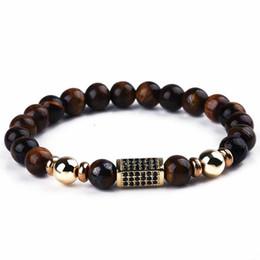 bracelets de méditation au yoga Promotion Pierre Naturelle Perles Bouddha Bracelet Marron Tigre Yeux Yoga Méditation Braclet Or Zircon Pour Hommes Femmes Main Bijoux Homme