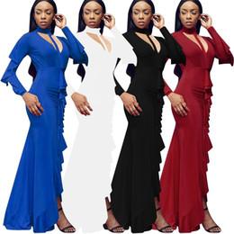 2019 gilet manchon Robes de soirée 4 couleurs avec des plis et des fleurs de lotus Jupe sexy à manches longues Robe de soirée Robe moulante