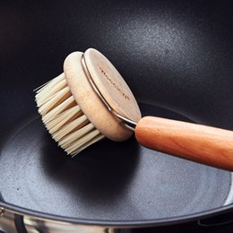 Wholesale Wood Stick Kitchen - Creative Kitchen Nylon Cleaning Pan Brush With Wood Handle Do Not Stick Oil Does Not Hurt The Pot High Temperature Resistant YYA1199