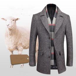 0ad705bcb69f8 Men winter long Outerwear handsome Slim jacket Business warm men Classic  Thick lapels scarf collar wool woolen coat windbreaker jacket