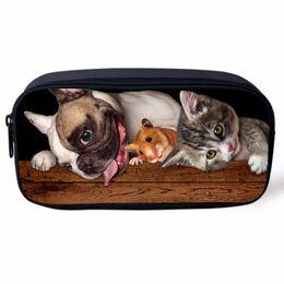 2019 карандаш-мешочек животные Pet Dog Print Women Cosmetic Cases Kids Animal Pencil Pouch Makeup Bags Dog Husky Printed Pencil Case Students Stationery School дешево карандаш-мешочек животные
