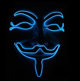 Wholesale Volto Masks Dance - 10 COLOR Halloween Masks Flashing Cosplay LED MASK Costume Anonymous Mask for Glowing dance Carnival Party Masks EEA338