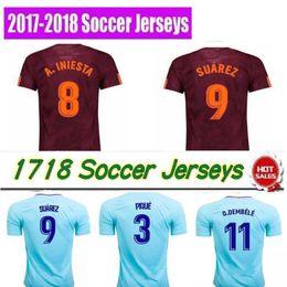 Wholesale Thai Quality - 2019 size:S-4XL SUAREZ Jerseys 2017 2018 Camisas Neymar INIESTA O.DEMBELE PIQUE Soccer Jersey 17 18 Camiseta de futbol Thai quality