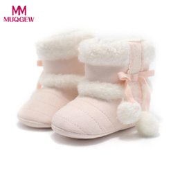 Wholesale infant boots for boys - Hot Sale Baby Girl Hairball Booties Winter Warm Snow Boots Infant Toddler Warming Crib Shoes for Girls Children Kids