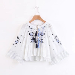 Wholesale White Crop Tie Top - QPFJQD Spring Fashion Floral Embroidered Blouse Ladies Loose Hollow Tassel Bow Tie Pleated Casual Shirts White Crop Top Blusas