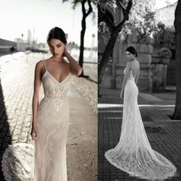 Wholesale Muslim Bride Models - Sexy Backless Full Lace Mermaid Beach Wedding Dresses Straphetti Straps Sweep Train Applique Bridal Bride Gown Custom Made Ivory Plus Size