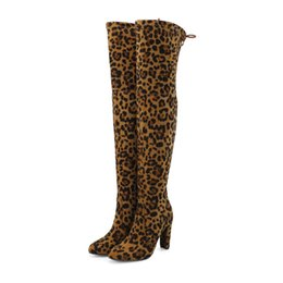 ec0bcb90a47 New Flock Leather Botas Mujer Over The Knee Chunky Heel Boots Slip-On Sexy High  Heels Women Leopard Winter Shoes Warm Size 35-42