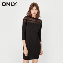Только женские платья онлайн-ONLY  2018 NEW Office lady solid three quarter sleeve slash neck female sexy lace fashion women dress 117107536