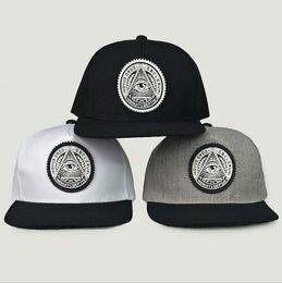 Wholesale Eyes Hat - Round Triangle Eye Snapback Caps Women Adjustable Baseball Cap Snapbacks Flat Peak Hip Hop Hats Ball Caps 3 Colors OOA5032