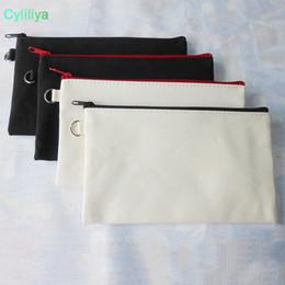 19.5 * 11 cm Noir coton toile cosmétique sacs BRICOLAGE femmes blanc plaine fermeture à glissière maquillage sac téléphone pochette pochette cadeau organisateur cas ? partir de fabricateur
