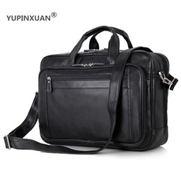 "Wholesale Laptop Bags 17 Black - YUPINXUAN Large Capacity Mens Cow Leather Handbags 17"" Laptop Travel Messenger Bags Big Genuine Leather Briefcase Big Office Bag"