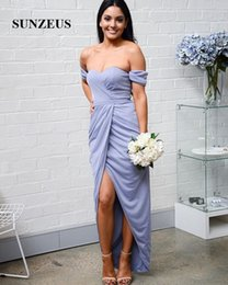 Wholesale Coral Dresses Wholesale - Sweetheart Ankle Length Bridesmaid Dresses Off the Shoulder Sheath Gray Prom Dresses Ruched Front Slit Sexy Wedding Party Dresses