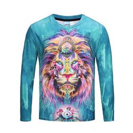 Homens da forma / Mulheres T-shirt 3d Azul Base de Leão Rei Elegante manga Longa camiseta Tops Tees Plus Size M-3XL BL-436 de Fornecedores de leão 3d do rei camiseta