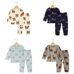 Wholesale Kids Clothing Pajamas - Kids Pajamas Sets Home Clothing Sets Boys Girls 100% Carding Cotton Elastic with Alpaca Cartoon Letters Kids Bodysuits Long Sleeve 3-6T
