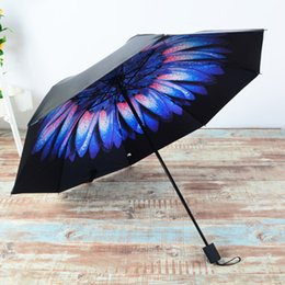 Wholesale Gluing Fabric - Women Rain Sun Vinyl Umbrella 3D Printed Sunny Folding Umbrella Anti-UV Black Glue Sunny and Rainy Umbrellas