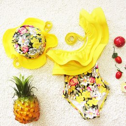 Wholesale Wholesale Toddler Bathing Suits - Children Swimsuits Girls One Piece Swimwear Ruffle Toddler Girl Bathing Suits With Swimming Hat Kids Swimsuits for Children