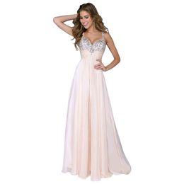 2018 Rosa Baratos vestidos largos de dama de honor cariño de lentejuelas escote de flujo de gasa de verano de dama de honor formal vestidos de fiesta de baile con volantes desde fabricantes