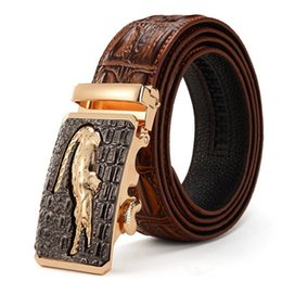 Wholesale Mens Jeans Free Shipping - Luxury Mens Alligator Embossed Plaque Buckle Cowskin Genuine Leather Ratchet Belt 3D Crocodile Pattern Jeans Belts For Men Free Shipping