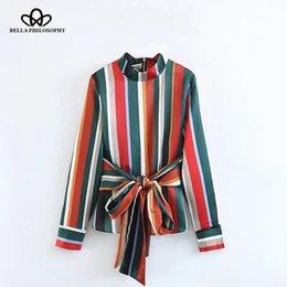 Wholesale Women Basic Chiffon Blouse - Bella Philosophy 2017 autumn winter striped basic blouse women shirt casual long sleeve blouse female sashes stand neck tops