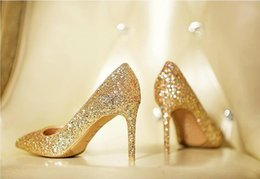 Wholesale Sexy Silver Prom Heels - luxury sandals Spring summer Fashion high heeled party prom sexy gold Roman style red carpet catwalk crystal diamond wedding shoes