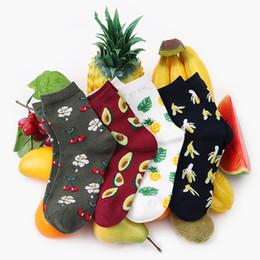 Canada Japonais Fruits Tropicaux De Mode Chaussettes Nouveau Exclusif Art Harajuku Marée Chaussettes Avocat Ananas Coton Lady Fille Bas cheap art pineapple Offre