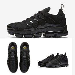 Wholesale Media Plus - Vapormax TN Plus Running Shoes 2018 Men Outdoor Run Shoes Black White Sport Walking Trainers Hiking Sports Athletic Sneakers EUR40-45
