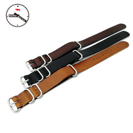 Wholesale cow leather watches - High End NATO straps genuine cow leather Watch Band Strap 18mm 20mm 22mm ZULU NATO Watch Band strap