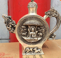 buddha statues china Canada - free shipping Tibet classical Bronze coated silver Dragon buddha statue bottle Pot 24 cm tall