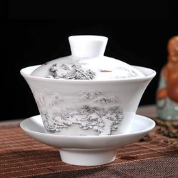 2019 ciotole di porcellana bianco Set da tè cinese Gaiwan Porcellana blu e bianca Kung Fu Set da tè Zuppiera Tazza da tè in ceramica Tazza da tè per salute Tazza e piattino Tazze da cucina sconti ciotole di porcellana bianco