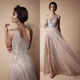 Wholesale One Shoulder Sequined Dresses Blue - 2018 Berta Evening Dresses Modest Fashion Prom Dress One Shoulder Sexy Full length Gown Occasion Dress Lace High Split Pageant Gowns